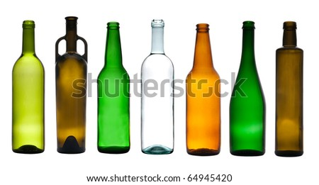 Collection of empty bottles - stock photo