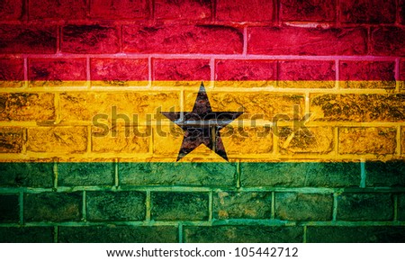 Collection of european flag on old brick wall texture background, ghana - stock photo