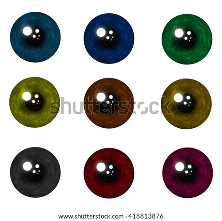 Collection of eyes of different colors iris wavy