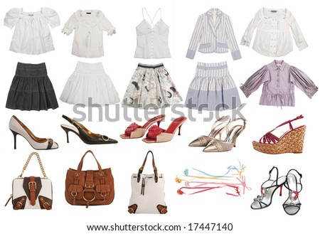 collection of fashion clothes - stock photo