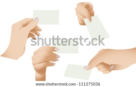 Collection of Female Hands Holding Blank Cards - stock photo
