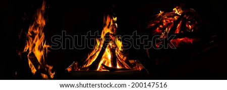 Collection of fire burn./ Wood burning - stock photo