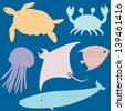 Collection of fish silhouettes with simple patterns. Raster version. - stock photo