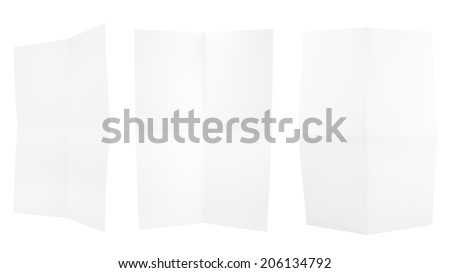 Collection of folded A4 paper clean copyspace sheets isolated over white background, set of three different foreshortenings - stock photo