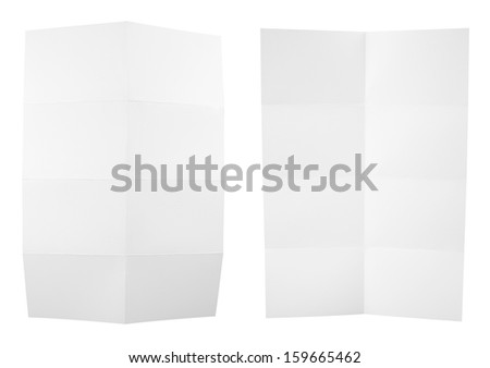 Collection of folded A4 paper clean copyspace sheets isolated over white background, set of two different foreshortenings - stock photo