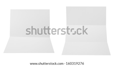 Collection of folded A4 paper clean copyspace sheets isolated over white background, set of two different foreshortenings