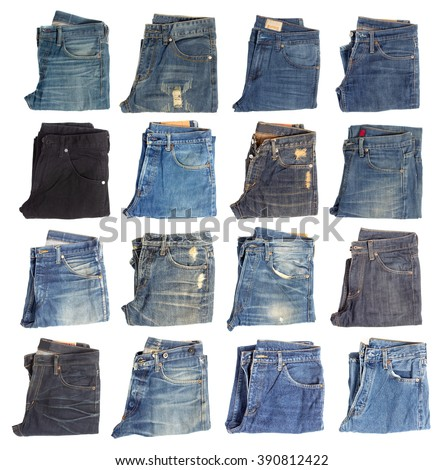 Collection of folded jeans isolated on white background - stock photo