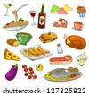 collection of foods and dishes (vector available in my gallery) - stock vector