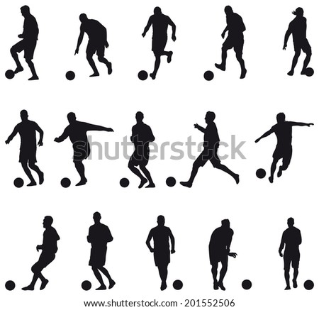 Collection of football players silhouettes (soccer) - stock photo