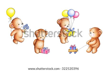 Collection of four drawings of teddy bears with balloons, flowers and gift boxes on white background