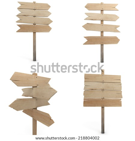 Collection of four renderings of wooden signs - stock photo