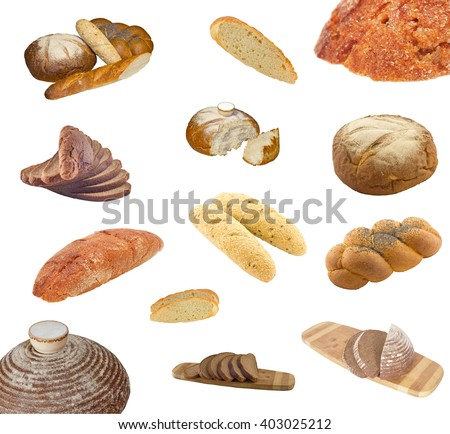 Collection of fresh bakery photos isolated on white background.