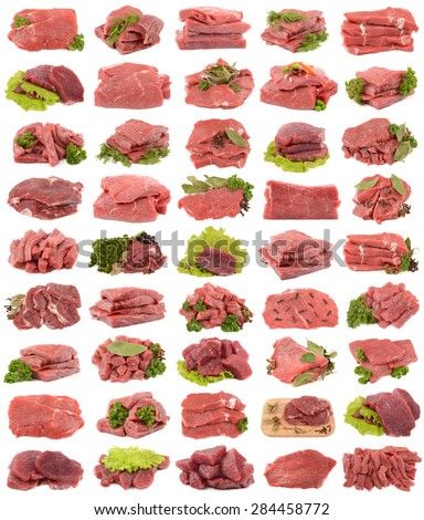 Collection of fresh beef