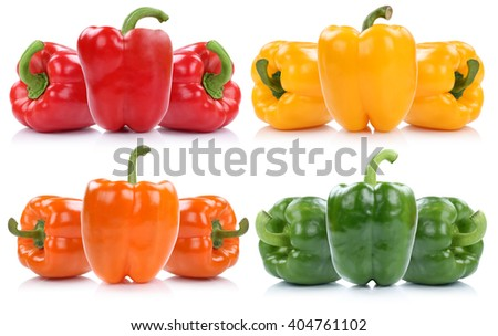 Collection of fresh bell pepper peppers paprika paprikas isolated on a white background - stock photo