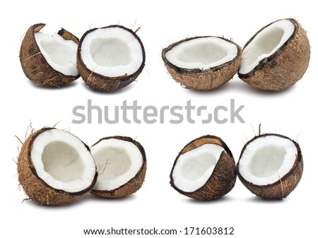 Collection of fresh coconuts isolated on white background