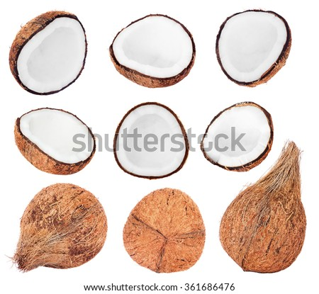 Collection of fresh coconuts isolated on white background - stock photo