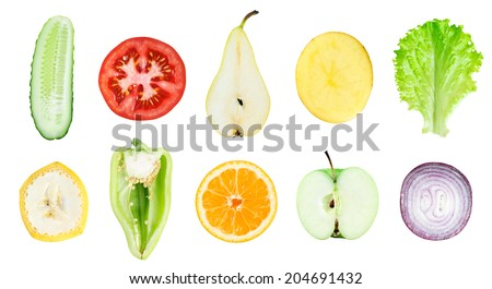 Collection of fresh fruit and vegetable slices on white background. Orange, cucumber, pear, apple, banana, pepper, potato, tomato, lettuce and onion - stock photo