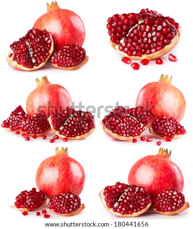 collection of fresh pomegranate isolated on white background - stock photo