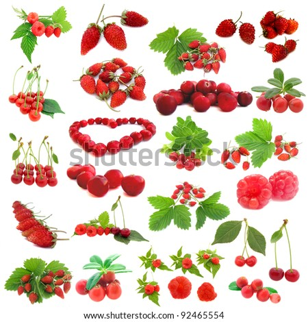 collection of fresh red cranberries, strawberries, cherries, raspberries isolated on white background - stock photo