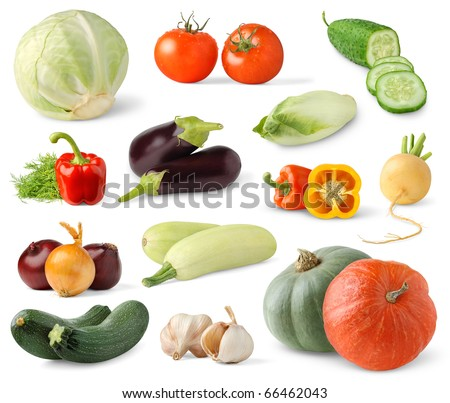 Collection of fresh vegetables isolated on white - stock photo