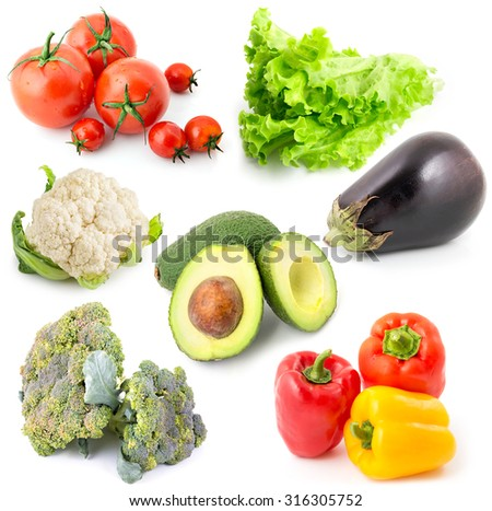 Collection of fresh vegetables isolated on white with shadow