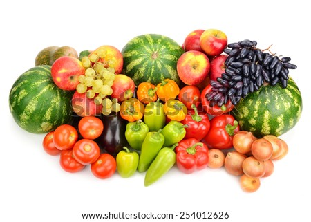 Collection of fruit and vegetables isolated on white