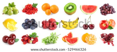 Collection of fruits and berries on white background. Fresh food