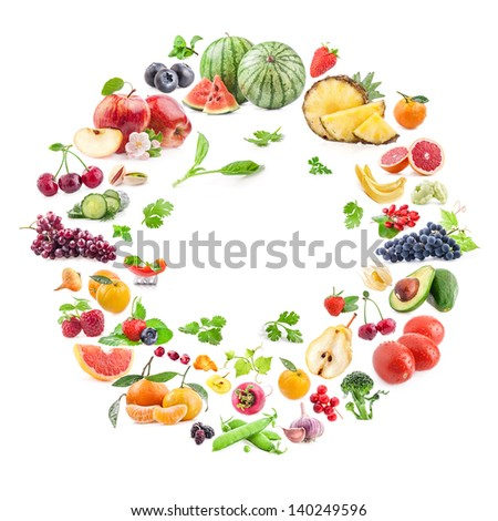 Collection of fruits and vegetables isolated on white background - stock photo
