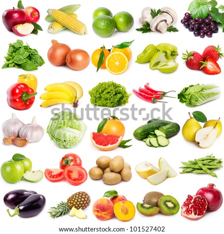 Collection fruits vegetables on white background stock photo collection of fruits and vegetables on white background altavistaventures Choice Image