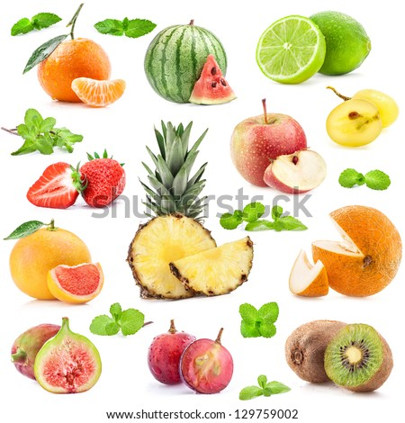 Collection of fruits with mint isolated on white background - stock photo