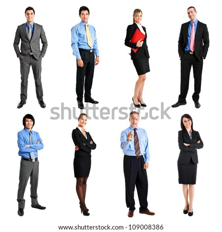 Collection of full length portraits of business people - stock photo