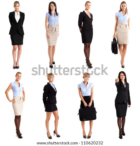 Collection of full length portraits of businesswomen - stock photo