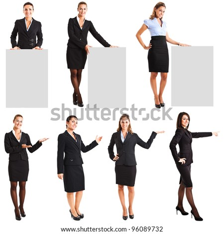 Collection of full length portraits of businesswomen showing a product - stock photo