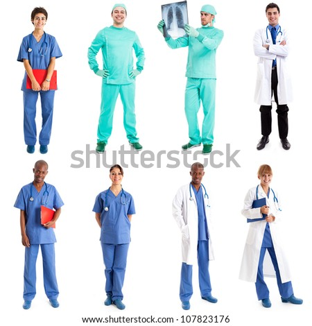 Collection of full length portraits of medical workers - stock photo