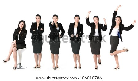 Collection of 6 full length portraits of the same Asian business woman. Isolated on white background - stock photo