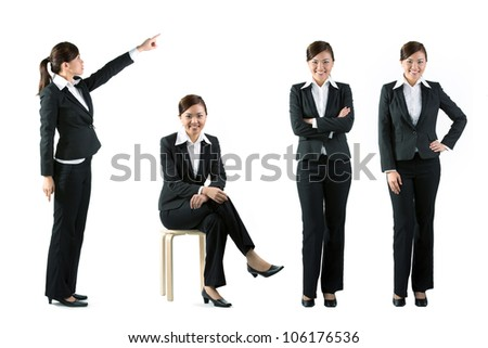 Collection of 4 full length portraits of the same Asian business woman. Isolated on white background - stock photo