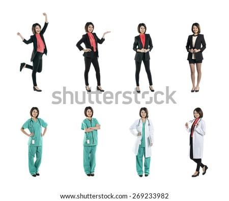 Collection of 8 full length portraits of the same Asian woman wearing business suit and medical clothing. Isolated on white background  - stock photo