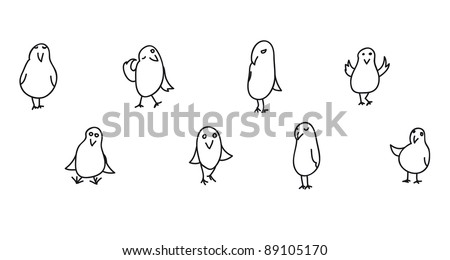 collection of 8 funny birds in jpg - stock photo