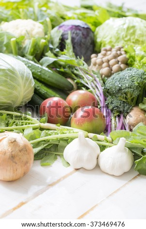 Collection of garlic and fresh vegetables
