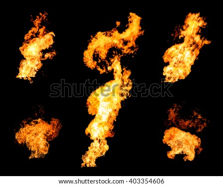 Collection of gas flare spurts of fire raging flame isolated on black photo set - stock photo