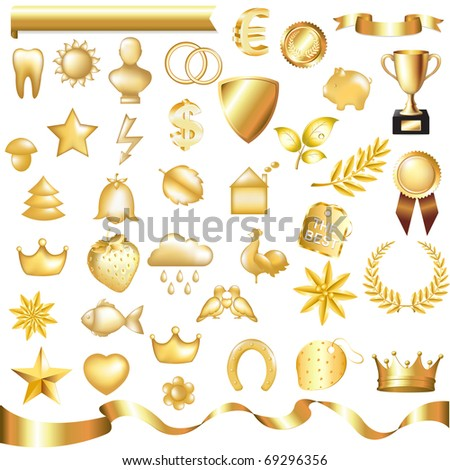 Collection Of Gold Elements, Isolated On White Background