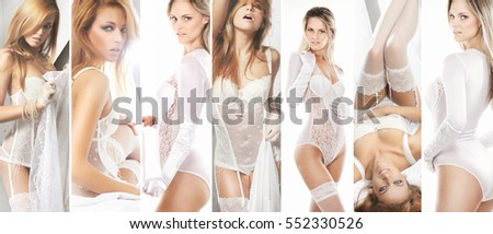 Collection of gorgeous sexy brides in alluring lingerie on isolated background.
