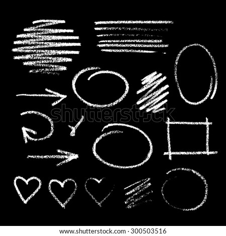 Collection of graphic elements. Handdrawn chalk sketch on a blackboard. Arrows, frames, strokes and hearts - stock photo
