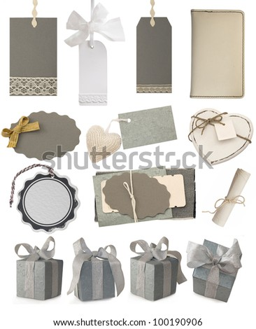 collection of gray tags and gift boxes - stock photo