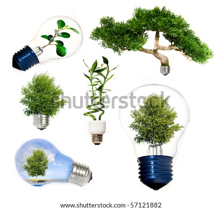 Collection of green energy symbols - stock photo