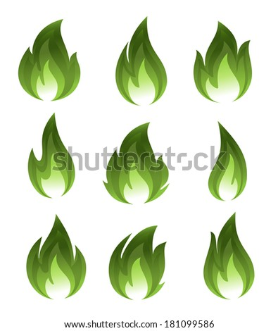 Collection of green fire icons - stock photo