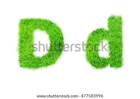 collection of green grass,eco font isolated on white background.d