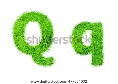 collection of green grass,eco font isolated on white background.q