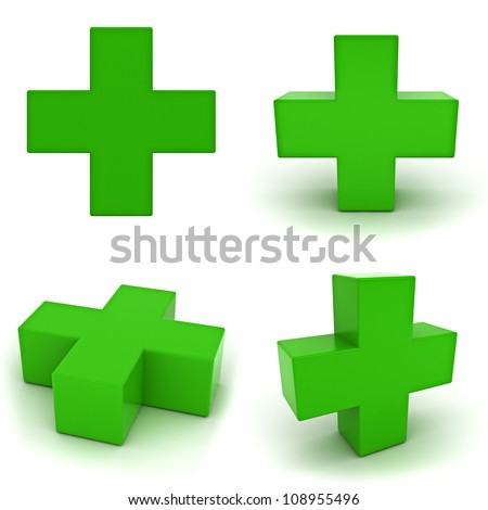 Collection of green plus sign isolated on white background - stock photo