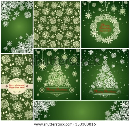 Collection of green xmas cards with paper snowflakes - stock photo